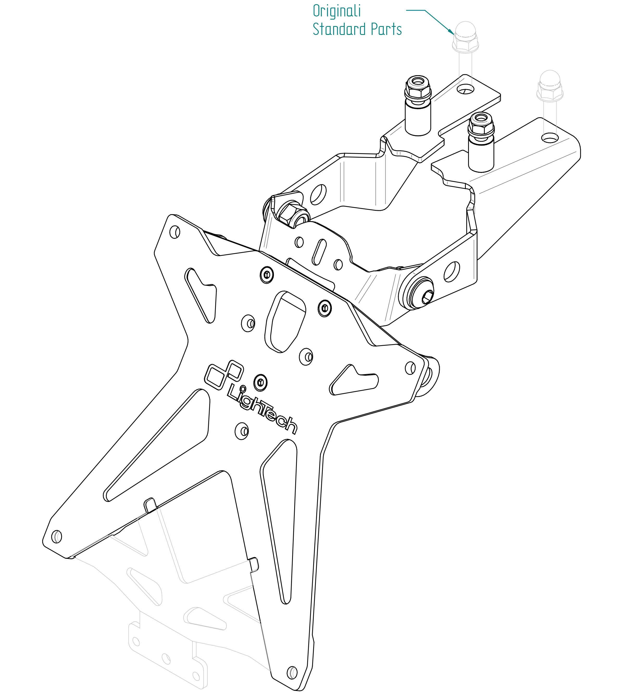 kawasaki z 800 2013 lightech license plate bracket kit