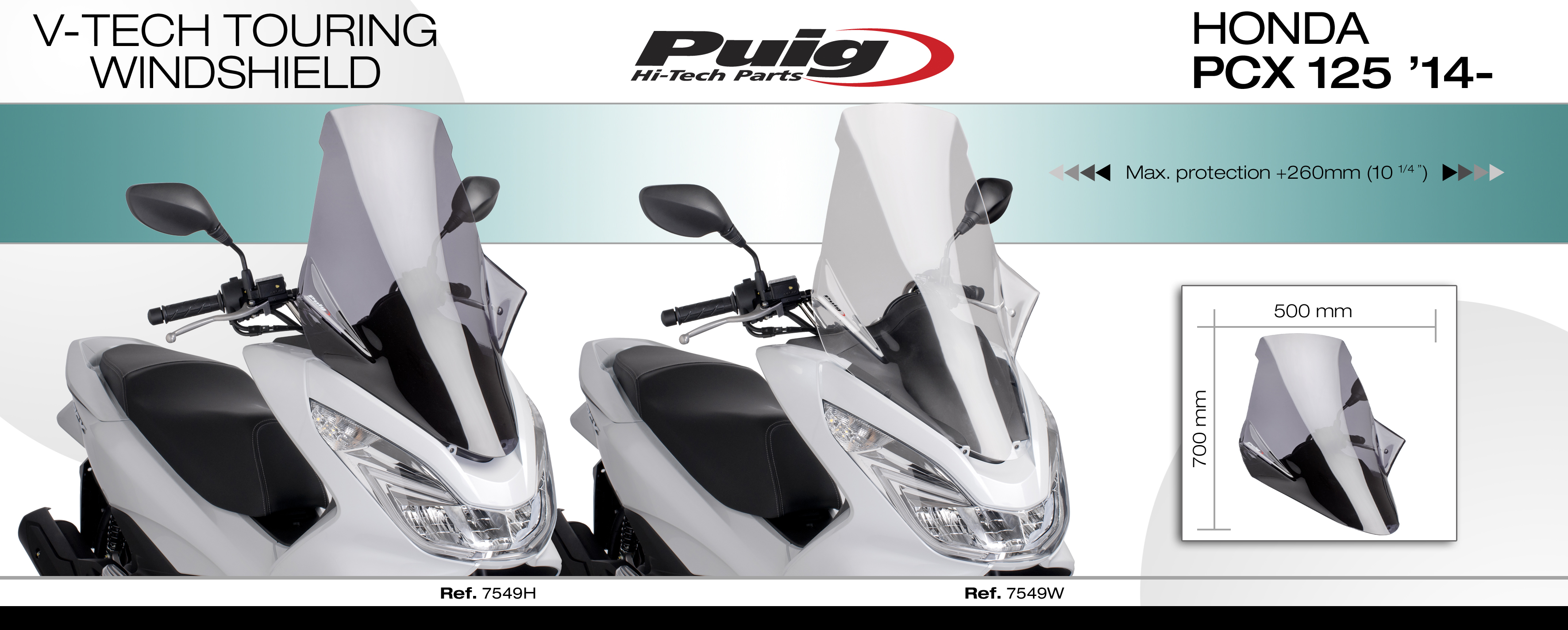 Honda Pcx 125 2014 Puig Screen Smoke V Tech Touring Windscreen Tankpad The Design Has Been Developed Trough Virtual Wind Tunnel To Improve Stability And Oem Aerodynamic Penetration Its Angulated Shapes On Central